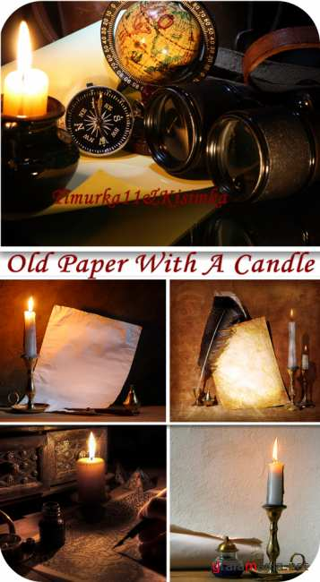 Old paper with a candle