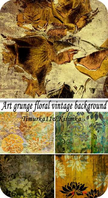 Art grunge floral vintage background