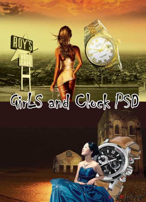Clock and Girl PSD