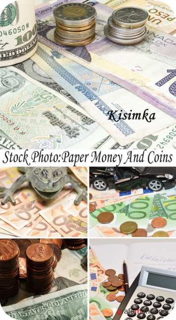 Stock Photo:  Paper money and coins