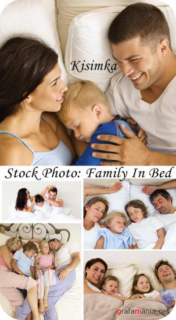 Stock Photo:  Family in bed