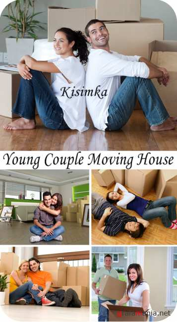 Stock Photo:  Young Couple Moving House