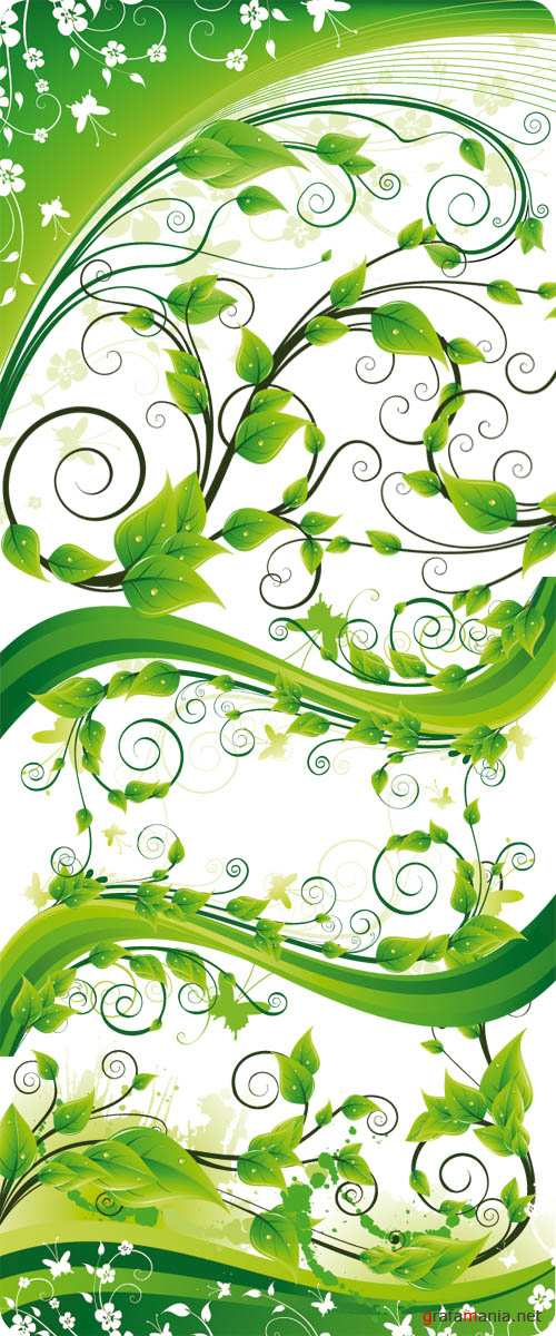 Stock Vector - Green Floral Wave