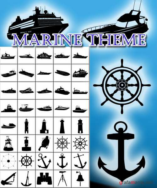 40 shapes  for photoshop Marine theme