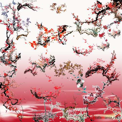 Clip Art-- An Oriental cherry
