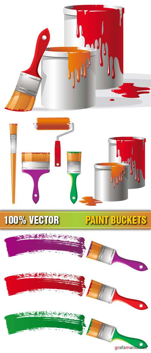 Stock Vector - Paint Buckets