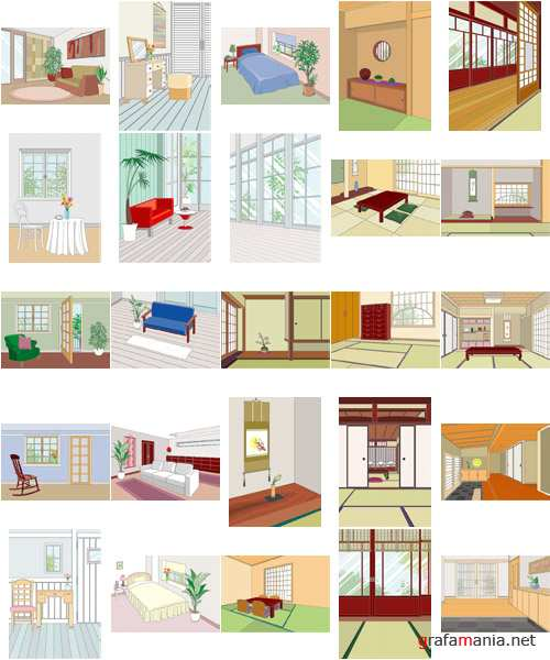 vector cliparts of rooms