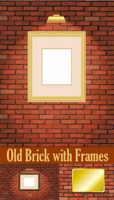 Old Brick with Frames Vector