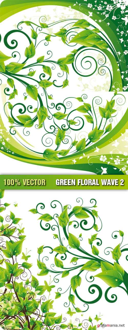 Stock Vector - Green Floral Wave 2