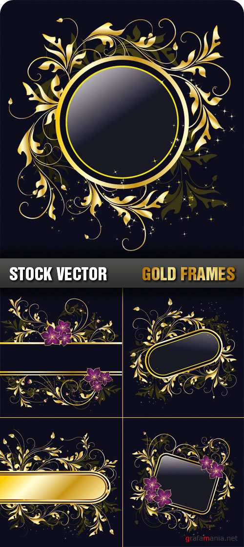 Stock Vector - Gold Frames