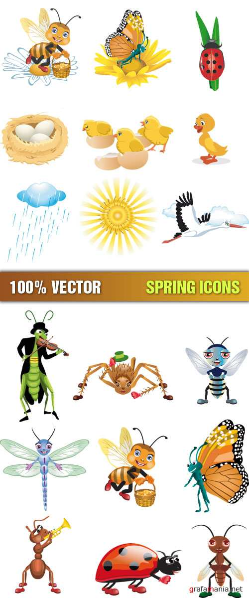 Stock Vector - Spring Icons