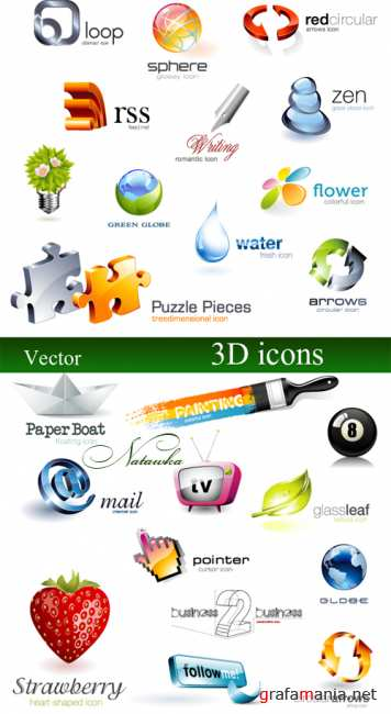 3D icons - vector