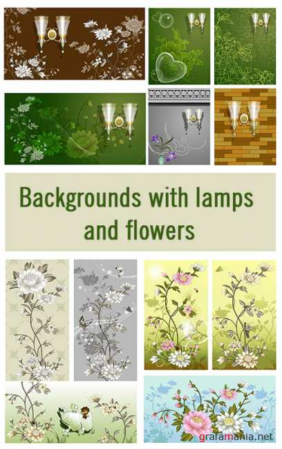 Backgrounds with lamps and flowers