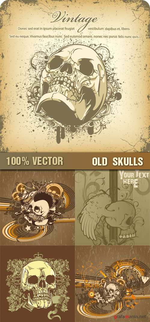 Estampa: Stock Vector - Old Skulls