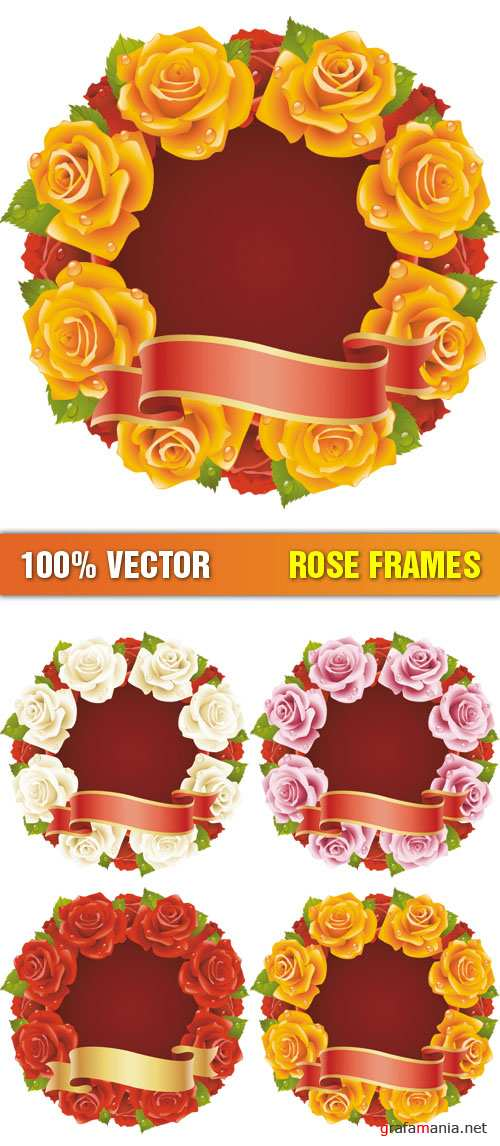 Stock Vector - Rose Frames
