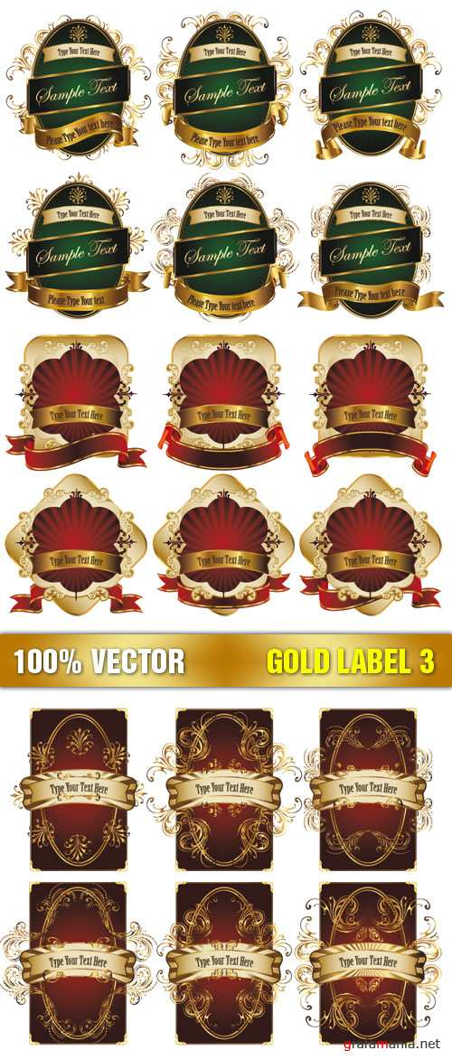 Stock Vector - Gold Label 3