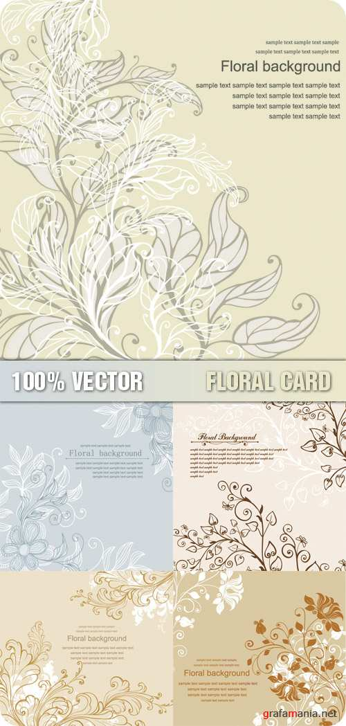 Stock Vector - Floral Card