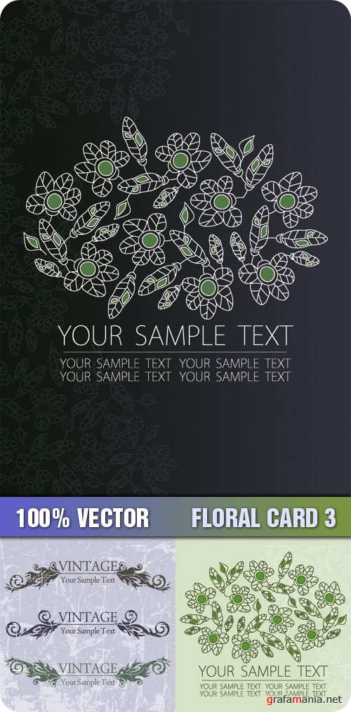 Stock Vector - Floral Card 3