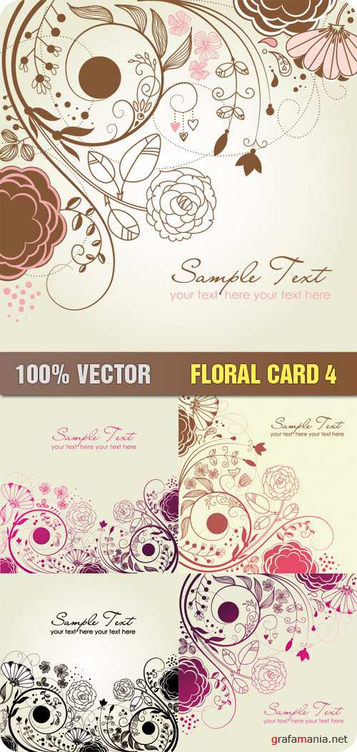 Stock Vector - Floral Card 4