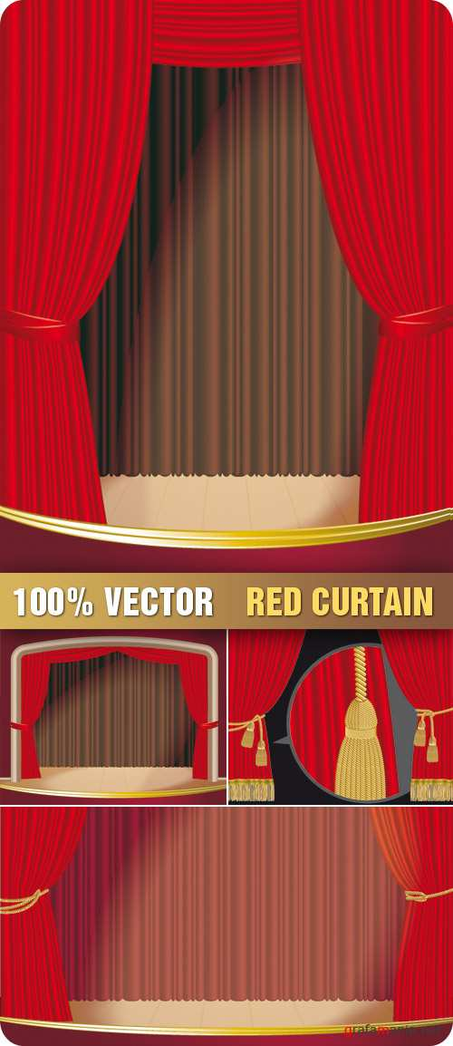 Stock Vector - Red Curtain