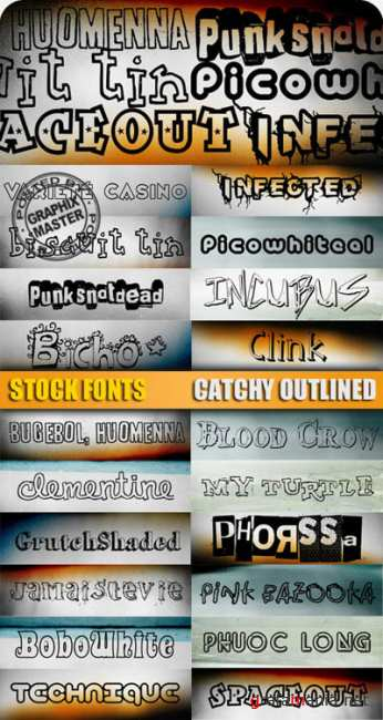 20 Catchy Outlined Fonts Collection