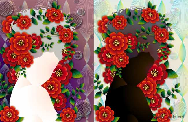 Woman with flowers Vector material -4