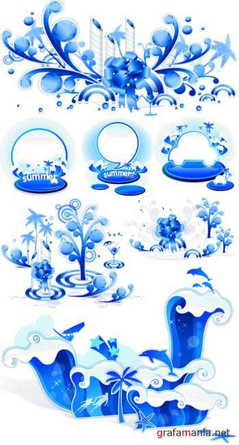 Blue waves vector 2