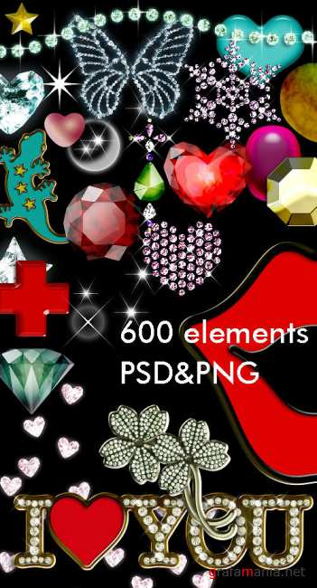 600 Elements PSD&PNG