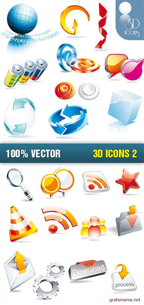 Stock Vector - 3D Icons 2