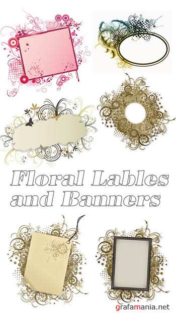Floral Lables and Banners