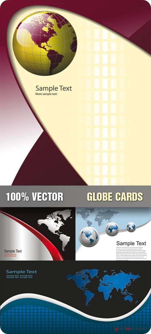 Stock Vector - Globe Cards