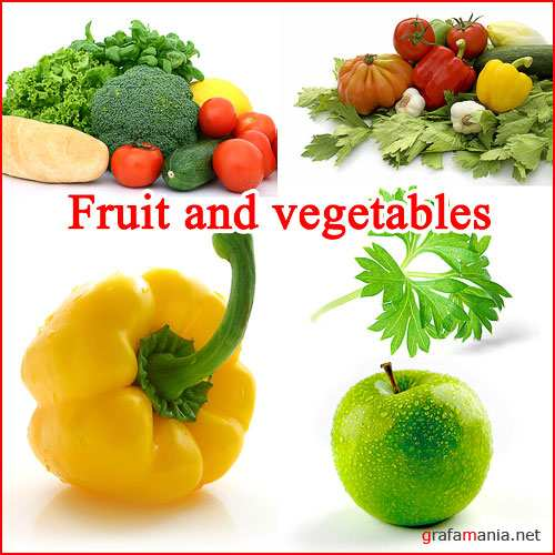 Fruit and vegetables on a white background