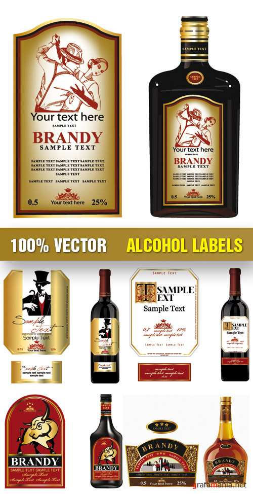 Stock Vector - Alcohol Labels