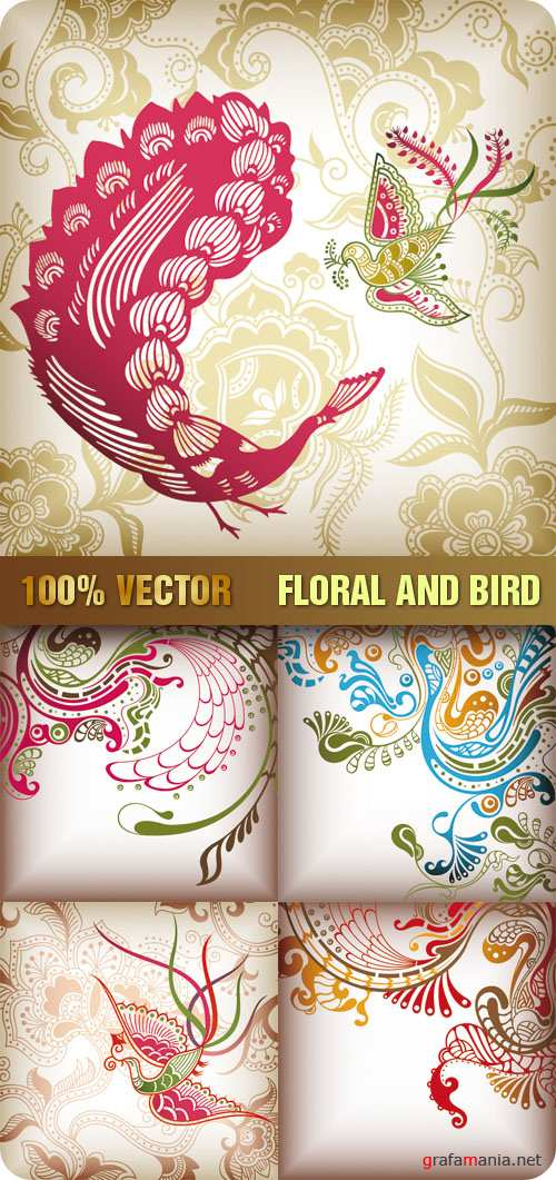 Stock Vector - Floral and Bird