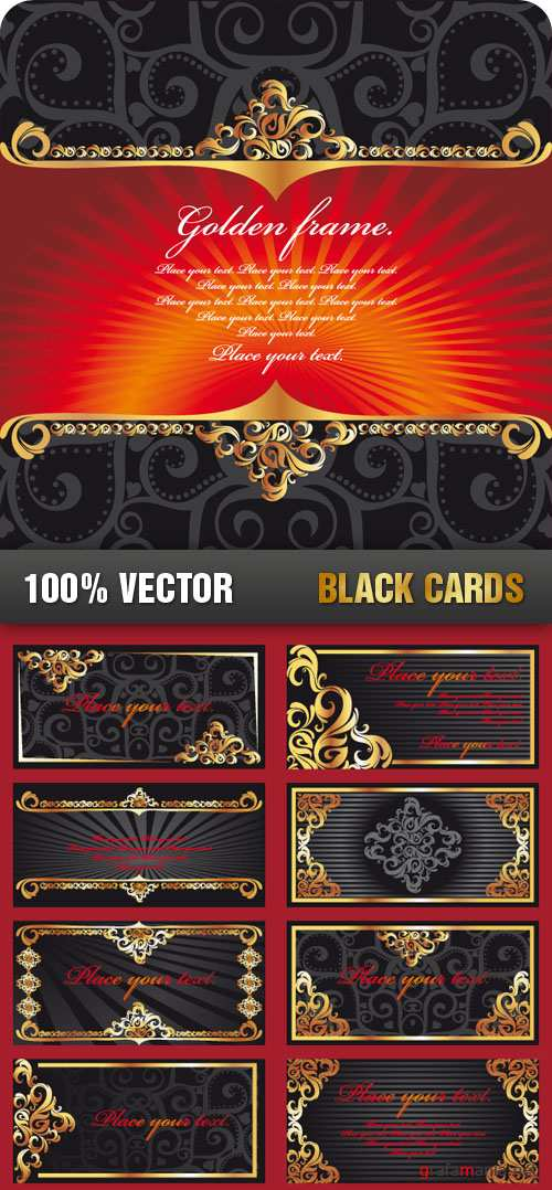 Stock Vector - Black Cards