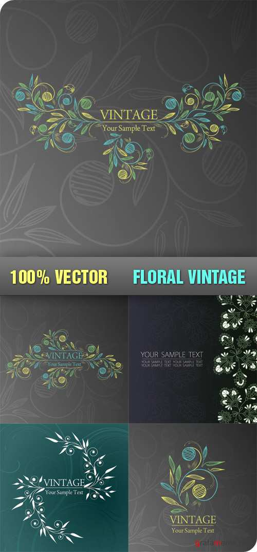 Stock Vector - Floral Vintage