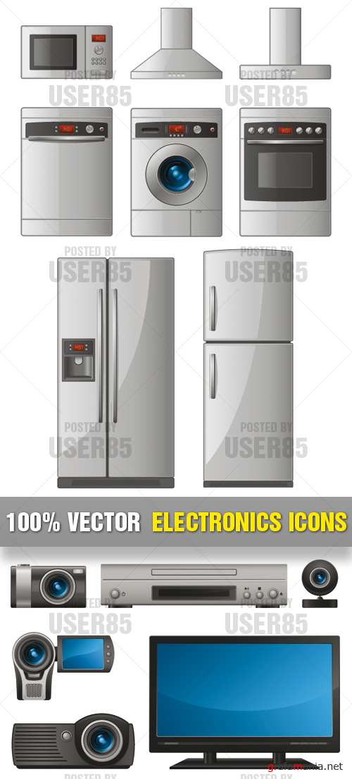 Stock Vector - Electronics Icons