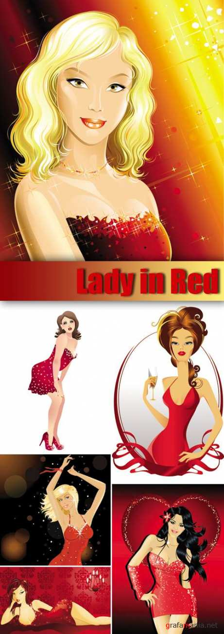 Lady in Red Vector
