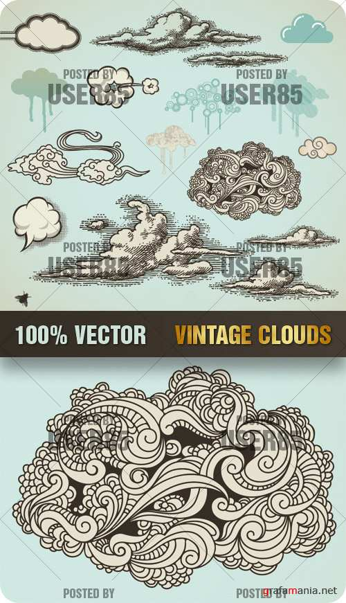 Stock Vector - Vintage Clouds