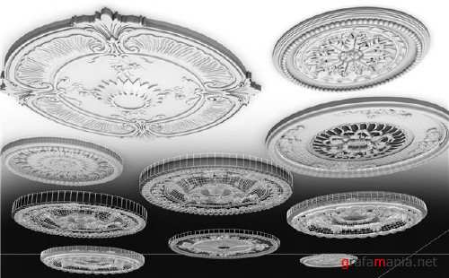 Quality ceiling decor hi-poly 3d-models collection
