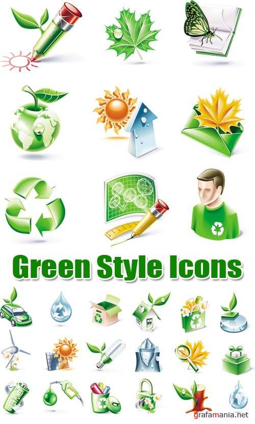 Green Style Icons Vector