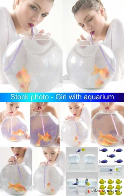 Stock photo - ������� � ���������� | Girl with aquarium