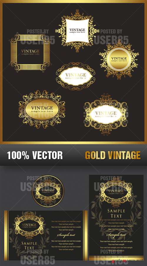 Stock Vector - Gold Vintage
