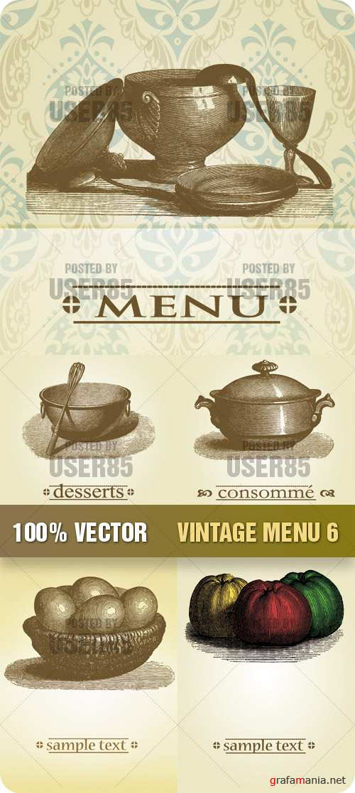 Stock Vector - Vintage Menu 6