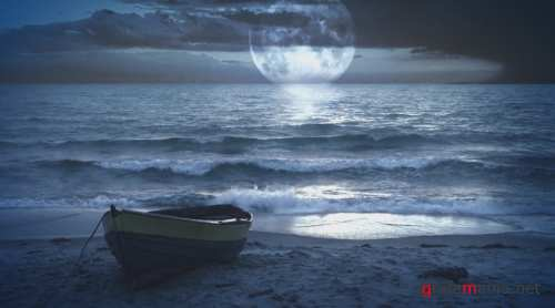 iStockvideo - Moonlight at the sea ocean (Fantastic landscape video background)