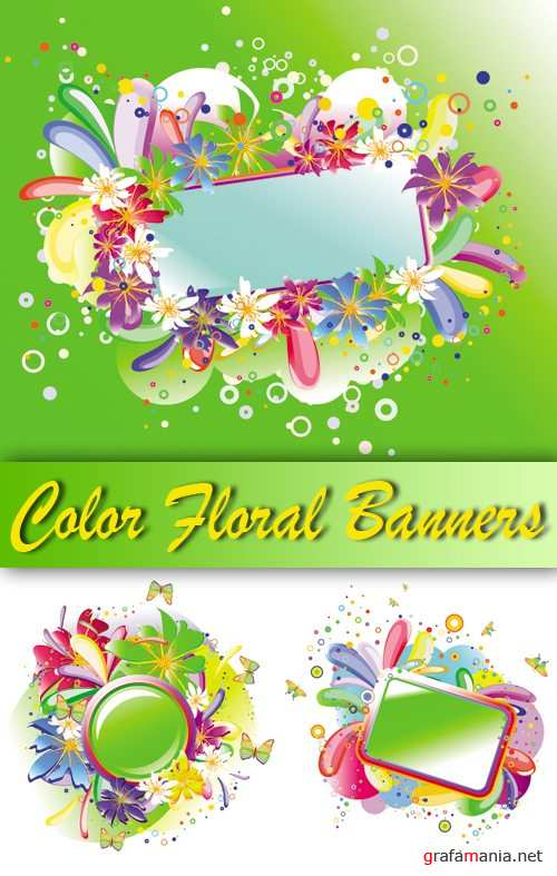 Color Floral Banners