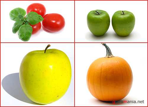 Fruit and vegetables on a white background 3