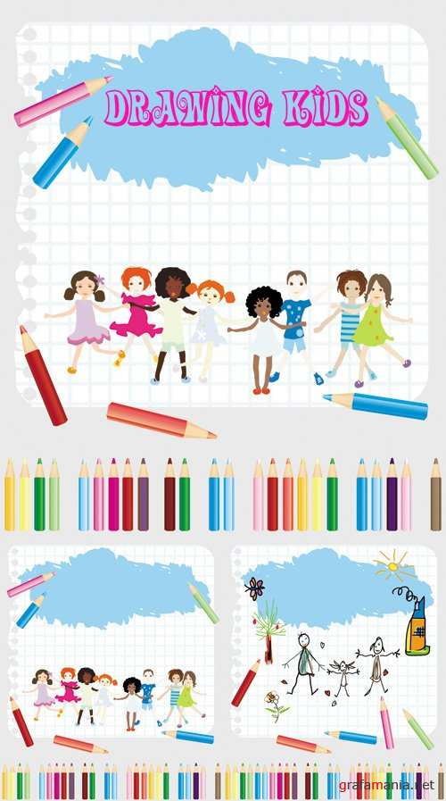 Drawing Kids Vector