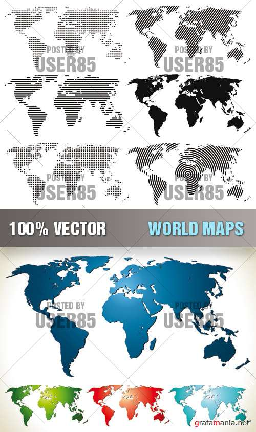 Stock Vector - World Maps