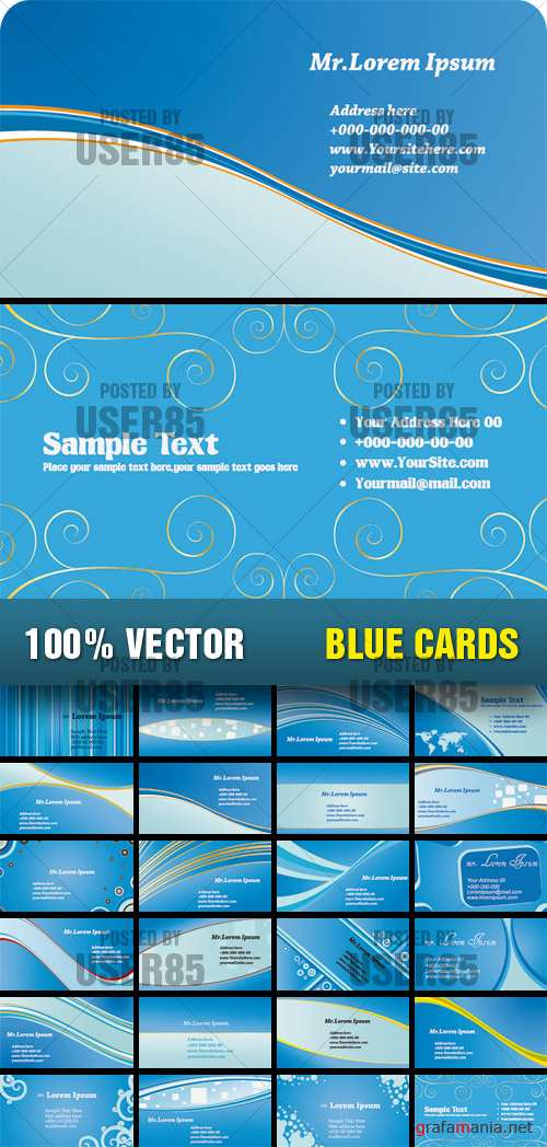 Stock Vector - Blue Cards